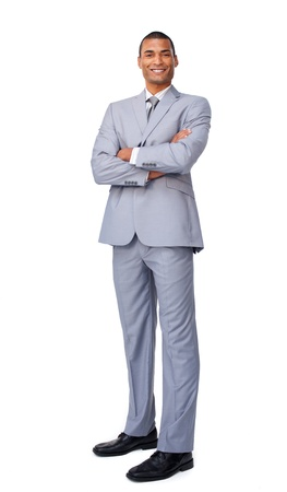 Young businessman with folded arms photo