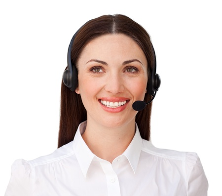 Smiling attractive businesswoman with headset on photo
