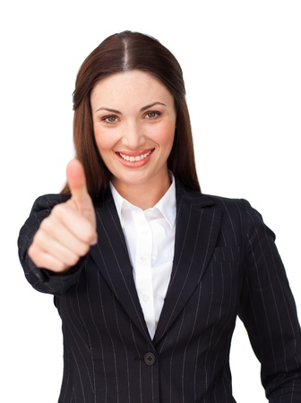 business metaphor: Young businesswoman with thumb up