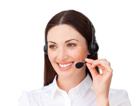 Attractive businesswoman with headset on photo