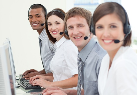 Customer service agents with headset on Stock Photo - 10077566