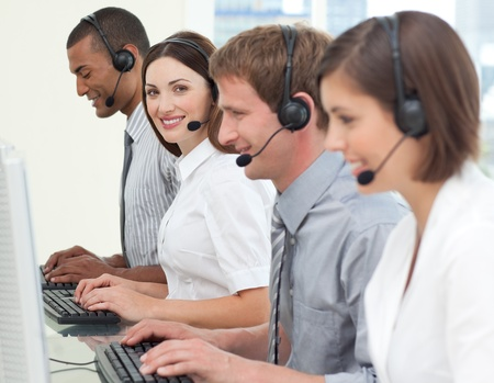 Business people with headset on Stock Photo - 10077733