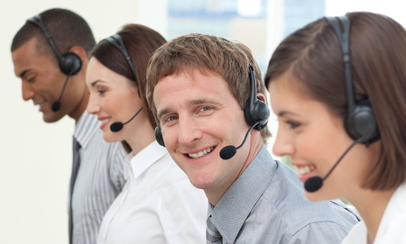 Business people with headset on Stock Photo - 10076159