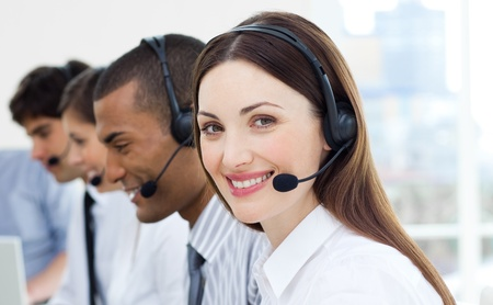 telemarketer: Customer service agents with headset on