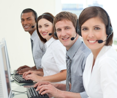 Multi-ethnic business people with headset on  Stock Photo - 10078719