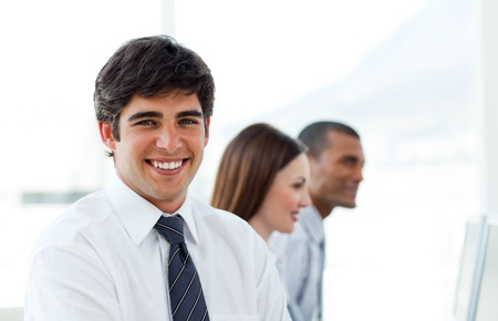 Young businessman smiling  photo