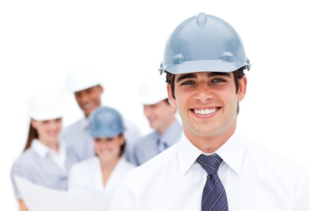 female engineer: Focus on a male architect wearing a hardhat