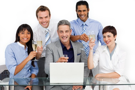 Lucky business team toasting with Champagne Stock Photo - 10094112