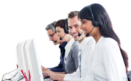 Smiling customer service representatives with headset on photo
