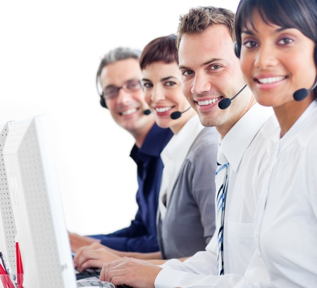 Multi-ethnic customer service representatives with headset on photo