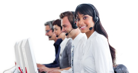 International customer service representatives with headset on photo