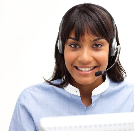 representative: Smiling customer service representative using headset