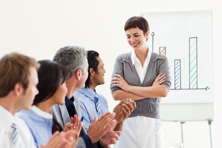 A diverse business group applauding a good presentation  Stock Photo - 10095485