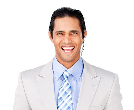 Smiling businessman with headset on against photo