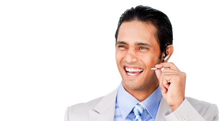 Confident customer service agent with headset on photo