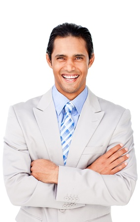 folded hands: Attractive businessman with folded arms