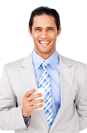 Portrait of a smling businessman holding a drinking cup  photo