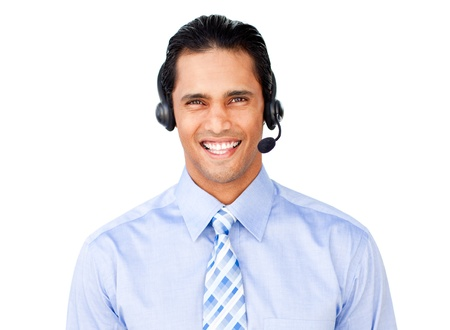 Businessman with headset on  photo