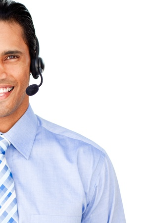 Close-up of a customer service agent with headset on photo