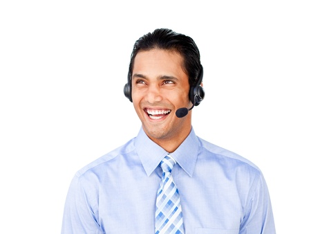 Attractive customer service agent with headset on  photo