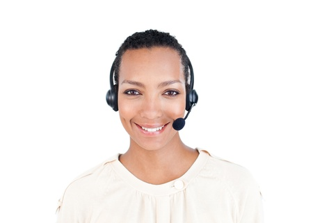 Smiling Customer service representative with headset on   photo