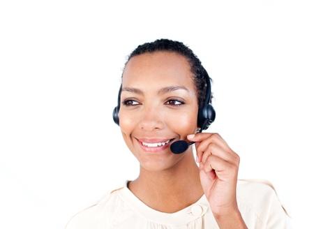 Self-assured Customer service representative with headset on  photo