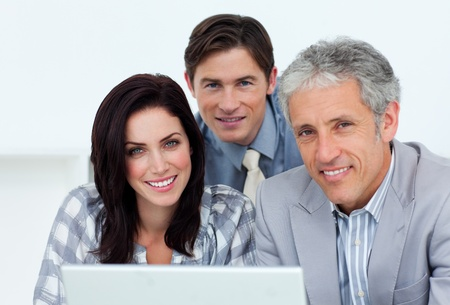 Charismatic business people working at a computer Stock Photo - 10097467