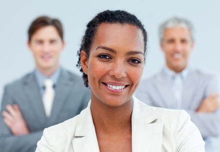 charismatic: Charismatic afro-american businesswoman standing