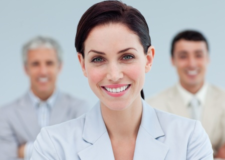 Radiant businesswoman standing  photo