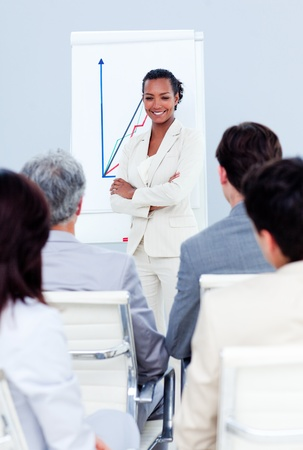 assertive: Assertive businesswoman doing a presentation
