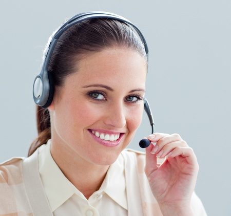 Close-up of a businesswoman with headset on photo