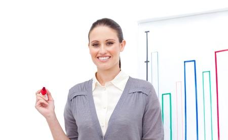 Positive caucasian businesswoman doing a presentation  photo