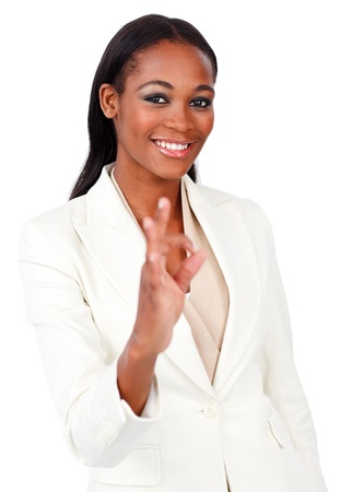 Positive businesswoman showing OK sign photo