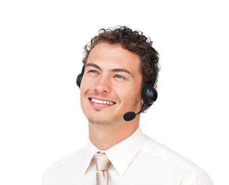 Hispanic customer service agent with headset  photo