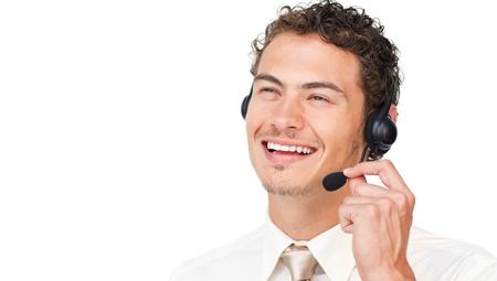 Joyful businessman using headset photo