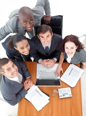 High Angle of business people working together Stock Photo - 10106068