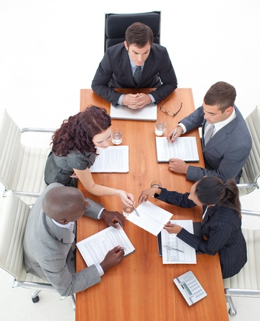 High Angle of business people working together Stock Photo - 10097477