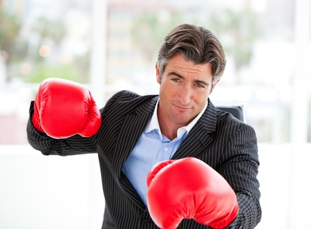 Fuus businessman wearing boxing gloves Stock Photo - 10097171