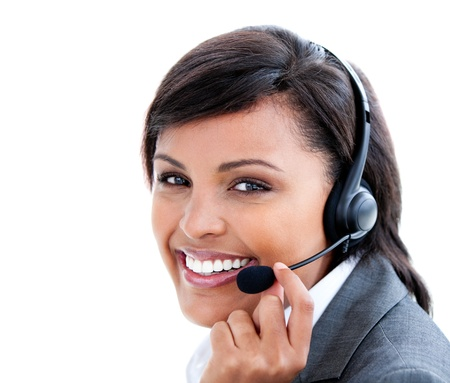 Portrait of a female manager with headset on   photo