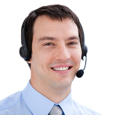 assertive: Portrait of an assertive businessman with headset on