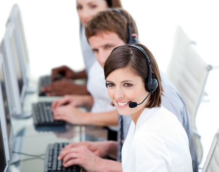 Young business team working in a call center   Stock Photo - 10096136