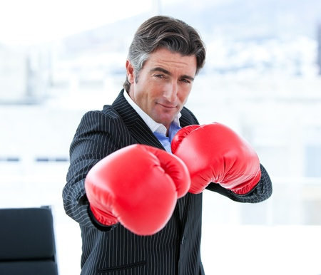 Furious businessman wearing boxing gloves Stock Photo - 10095962