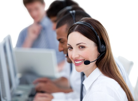 Successful business team working in a call center Stock Photo - 10096775
