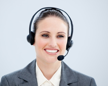 Portrait of a smiling customer agent at work photo