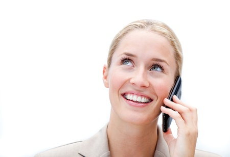 Portrait of a jolly businesswoman phoning Stock Photo - 10095104