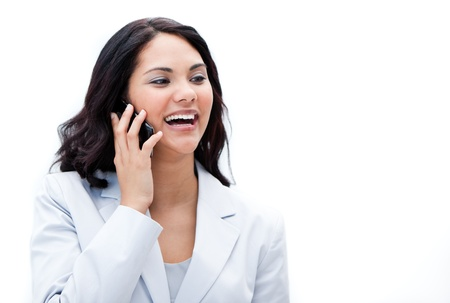 Portrait of a jolly businesswoman phoning photo