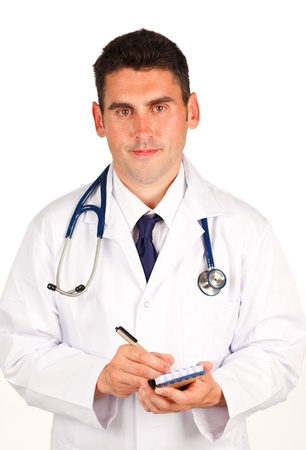 adult  body writing: Doctor writing  a diagnosis Stock Photo