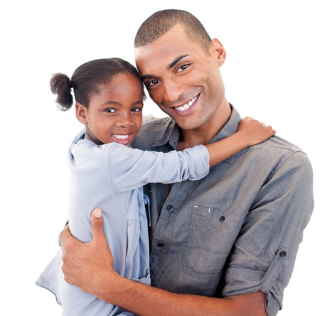 Afro-American father holding her little daughter Stock Photo - 10096704