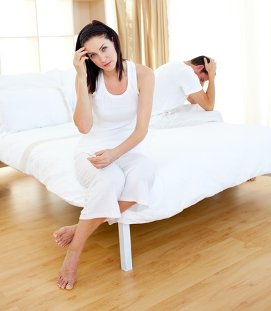 finding out: Disconsolate couple finding out results of a pregnancy test  Stock Photo