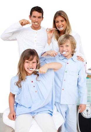 brush teeth: Family Washing Their Teeth Stock Photo